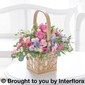 Scented Pink and Lilac Basket with Belgian Chocolates